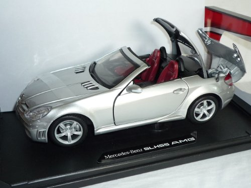 Mercedes-Benz SLK R171 2004-2011 55 AMG Silber Öffnendes Dach Coupe Cabrio 1/18 Motormax Modell Auto