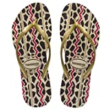Havaianas Slim Animal Women's Sandal (Sand Grey/Light Golden) - W7/8, M6, (Brazil 37/38)