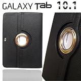 GALAXY Tab 10.1 LTE SC-01Dソフト レザー ケース (回転RING/スタンド機能付き) 【high‐class Black】