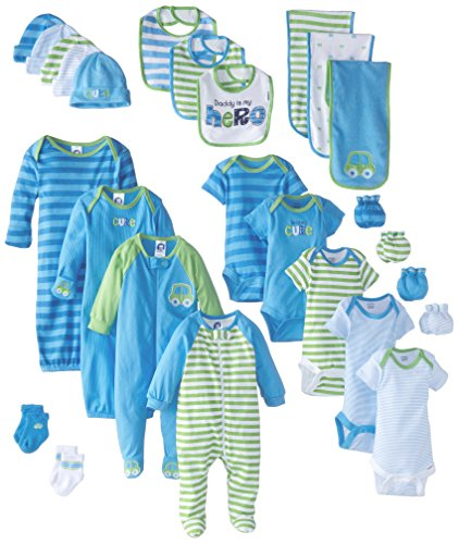 Gerber Baby Boys' 26 Piece Seriously Cute Gift Set, Car&Stripe, Newborn