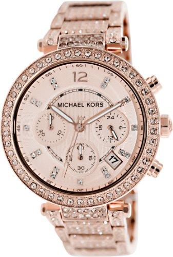 Michael Kors Uptown Glam Parker Chronograph Rose Gold-Tone Ladies Watch Mk5663