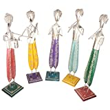 Rajgharana Handicrafts Multi Color Wood And Metal Standing Musicians (Set Of 5) - (10 Cm X 50 Cm)