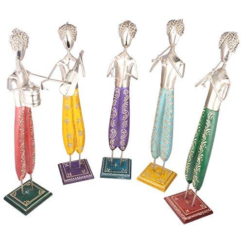 Rajgharana Handicrafts Multi Color Wood And Metal Standing Musicians (Set Of 5) - (10 Cm X 50 Cm)