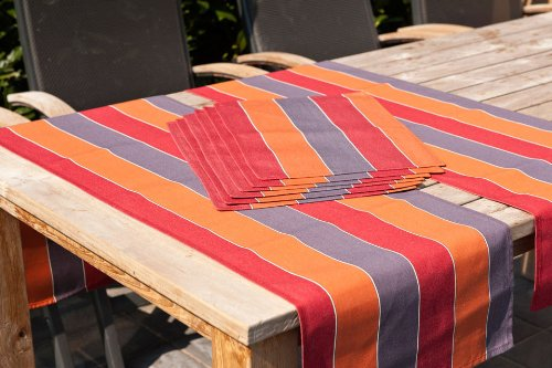 Hambiente Outdoor Tischläuferset 2 x Gartentisch Läufer und 6 x Platzset in orange terracotta 89