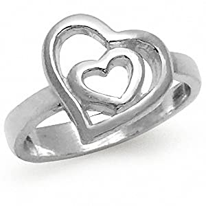 925 Sterling Silver Double HEART Ring Size 9