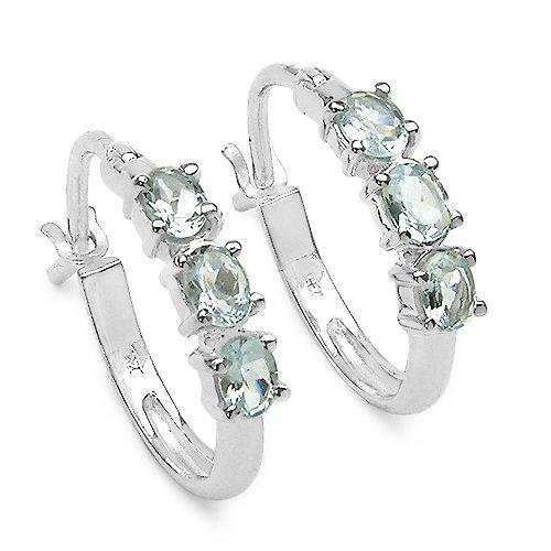 1.20 Carat Genuine Aquamarine .925 Silver Earrings