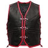 Design Custom Jackets Leather Vest Black Braided Edge Motorcycle Biker Rocker Leisure Chopper (Blue, XL)
