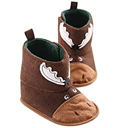 LIVEBOX Baby Christmas Special Premium Soft Sole Anti-Slip Mid Calf Warm Winter Infant Prewalker Toddler Snow Boots (M: 6~12 months, Reindeer Coffee)