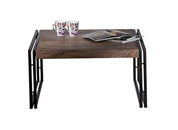SIT-Möbel Panama 9280-01 Coffee Table 80 x 80 x 40 cm Natural-Finish Sheesham Wood and Rustic Vintage-Look Metal with Patina