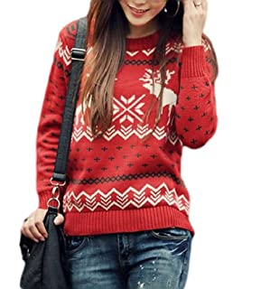 CHRISTMAS Sweater / Cardigan, with Various Lovely Patterns of Reindeer / Snowman / Snowflakes / Tree (M, Deer&Snowflake-Red)