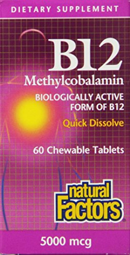 Natural Factors Vitamin B12 Methylcobalamin 5000mcg Tablets, 60-Count