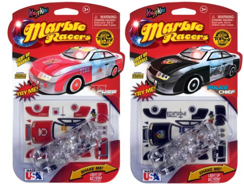 Skullduggery Krazy Kars Marble Racers 2 Pack - Light Up Police Chief And Fire Chief