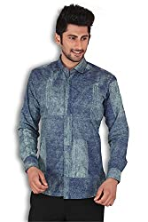 Kivon Men's Blue Solid Slim Fit Casual Shirt
