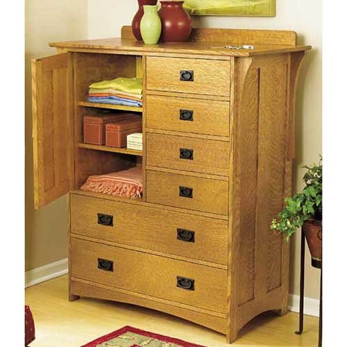 Arts and Crafts Dresser Mission Style: Downloadable Woodworking Plan