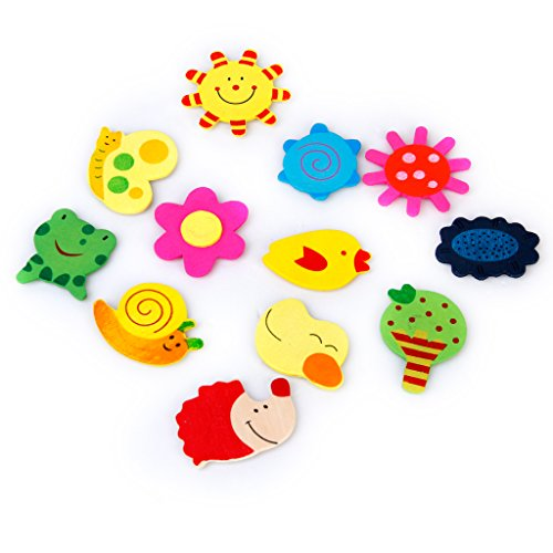 48pcs Colorful Wooden Cartoon Refrigerator Magnets for Children