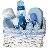 Grace White Wicker Blue Gingham Baby Hamper / Baby Shower Gift / New Arrival Gift