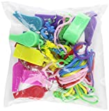 Rhode Island Novelty 12 Neon Plastic Whistle Necklaces on Nylon Braided Cord
