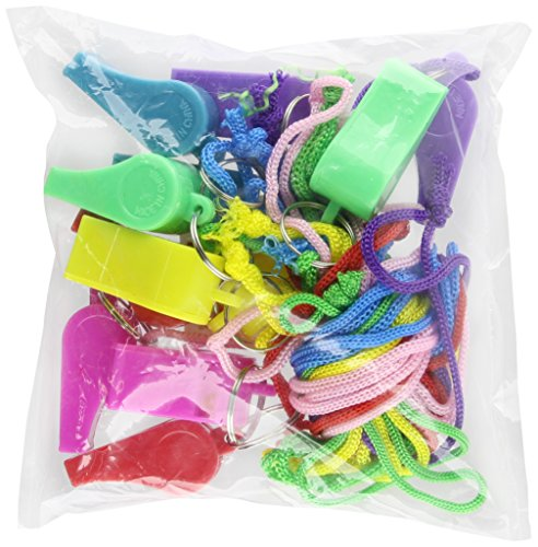 Rhode Island Novelty 12 Neon Plastic Whistle Necklaces on Nylon Braided Cord (Whistle Plastic compare prices)