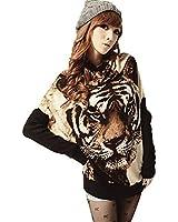 reine à la mode- Pull Longue Tunique Robe Tricot Tigre Femme Manches Chauve-souris Hauts Charme pour les femmes et les filles