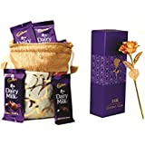 Skylofts Dairy Milk & Skylofts Chocolates ( 15pcs) With 24k Gold Rose Gift