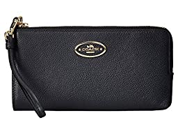 COACH Women\'s Refined Grain Leather Zip Wallet LI/Navy Checkbook Wallet
