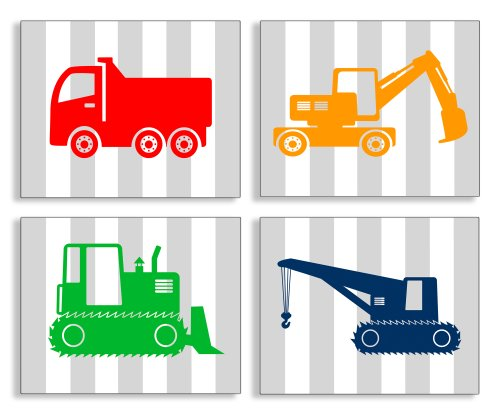 The Kids Room by Stupell Construction Vehicles on Gray Stripes 4-Pc. Rectangle Wall Plaque Set