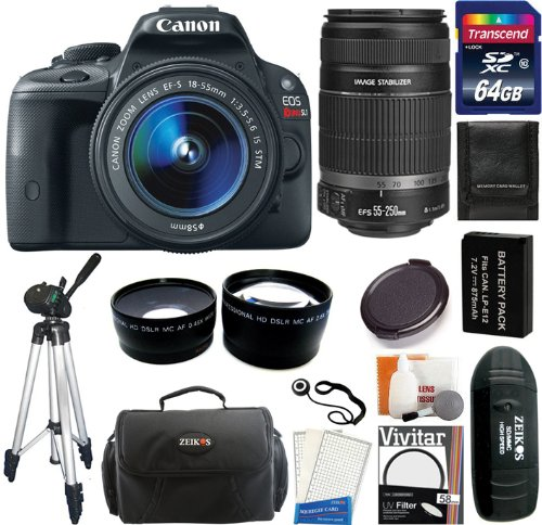 Canon Eos Rebel Sl1 Digital Slr Camera & Ef-S 18-55Mm Is Stm Lens With Ef-S 55-250Mm Ii Is Lens + 64Gb Card And Reader + Battery + Case + Filters + Tripod + Telephoto & Wide Angle Lens + Accessory Kit