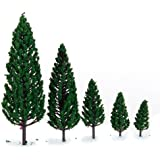 10Pcs 1.9 inch - 6.3 inch Train Set Scenery Landscape Model Pyramidal Trees Scale 1/50