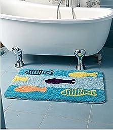 Luxbon Microfiber Non-Slip Water-absorbing Super Cute Blue Fish Pattern Bathroom Doorway Kitchen Floor Rug Carpet Mat Kid\'s Rug-23.6x35.4\