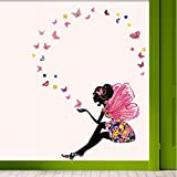 Decals Design 'Fairy With Butterflies' Wall Sticker (PVC Vinyl, 90 Cm X 60 Cm)