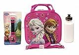 Disney Frozen Elsa Lunch Box Bag w/ Shoulder Strap + Water Bottle + LCD Watch - Pink