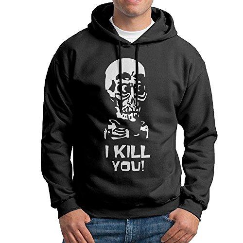 Bekey Men's Jeff Dunham Skull Pullover Hoodie Sweatshirt M Black