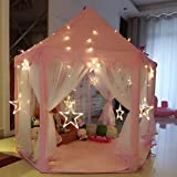 AuTop Large Indoor and Outdoor Kids Play House Pink Hexagon Princess Castle Kids Play Tent with 23' LED Star Lights, Child Play Tent