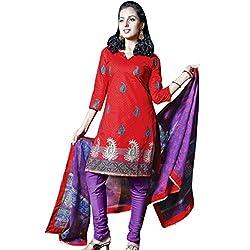 Silk India Women's Nikhaar Collection Aneri Dress Materials (9_Red & Purple)
