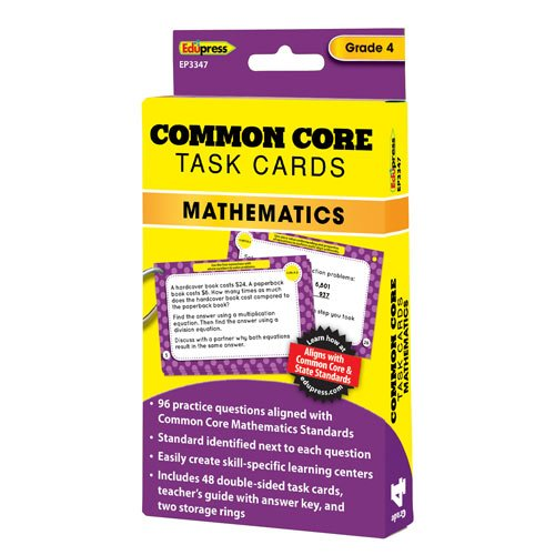 Edupress EP-3347 Common Core Math Task Cards Gr 4