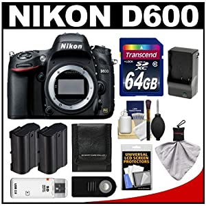 Nikon D600 Digital SLR Camera Body with 64GB Card + 2 Batteries Charger + Remote + Accessory Kit