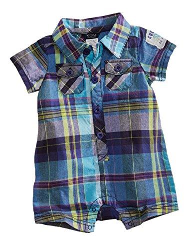 Guess Kids Newborn Boy Short-Sleeve Plaid Romper (0-9M), Plaid (6/9M)