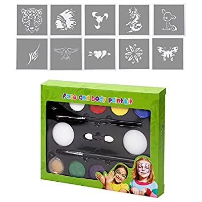 BMC Kids Party Activity Fun Face Body Skin Non-Toxic Paint and Stencil Kit Sets