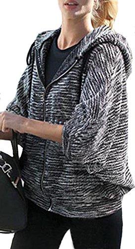 IbagstyleWomens Batwing Sleeve Casual Cardigan Sweater Hooded Zipper Jacket Coat