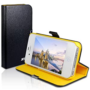 JETech® Diamond 2nd Edition iPhone 4 4S Case with Built-in Stand and Front/Back Protection for Apple iPhone 4/4S (Black/Yellow)