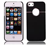 COCO Fun Chrome Ring Series Hard Back Case Cover For iPhone 5 5G + Clear Flim Screen Protector, Black