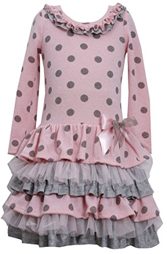 Bonnie Jean Little Girls' Pink & Grey Polka Dotted Sweater Tier Dress 3T B23663 front-955264