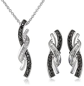 Sterling Silver Black and White Diamond Twist Shape Pendant and Earrings Box Set (1/6 Cttw), 18