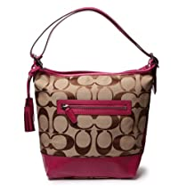 Hot Sale Coach Legacy Signature Convertible Hobo Duffle Handbag 21149 Khaki Berry