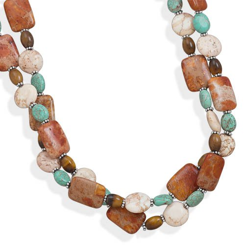 16 + 2 Inch Double Strand Multistone Necklace