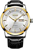 (バオショ)BUREI腕時計 メンズ 日付曜日表示 ブラック小牛皮レーザー ホワイト文字盤 金色ケース 機械式ウオッチ