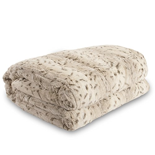 Safari Faux Fur Plush Throw Blanket Comforter - White (82.6'' X 90.5'' King) Ak602