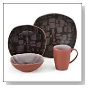 16-Piece Reactive Glaze Stoneware Dinnerware Set, Purple