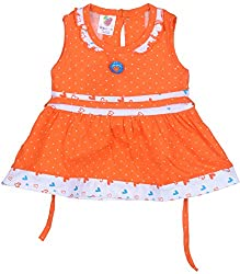 Amy Baby Girls' Dress (162_1_12-18 Months, Orange, 12-18 Months) - Special Offer with Free Delivery - 100% Cotton Exclusive Kidswear