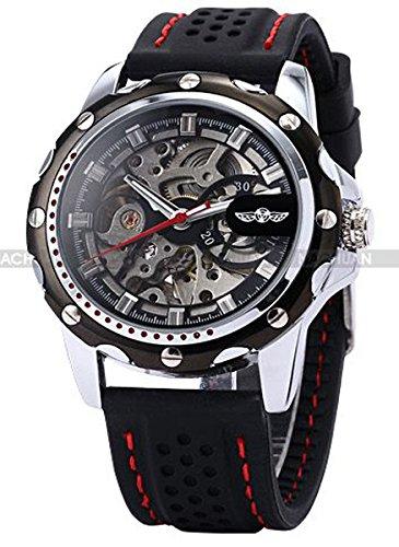 Cucol(クコル)自動機械式男性 スケルトン メンズスポーツ スタイリッシュギフト自動巻き腕時計(ブラック色)